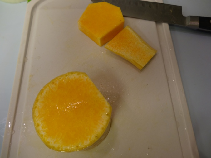 Chop and peel the butternut